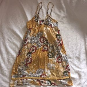Golden boho floral mini dress